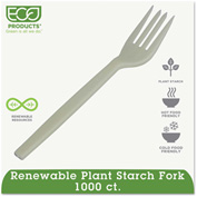 Eco-Products® Renewable PSM Cutlery, Fork, Cream, 1000/Carton