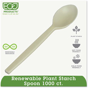 Eco-Products® Renewable PSM Cutlery, Teaspoon, Cream, 1000/Carton