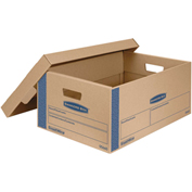 "Bankers Box® SmoothMove Prime Large Moving Boxes, 24""L x 15""W x 10""H, Kraft/Blue, 8/CTN"