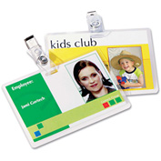 Fellowes® Laminating Pouches, 5 mil, 2 5/8 x 3 7/8, ID w/Clip, 25/Pack
