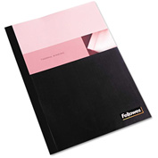 "Fellowes® Thermal Binding System Covers, 1/2"" Cap, 11 x 8 1/2, Clear/Black, 10/Pack"
