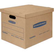 "Bankers Box® SmoothMove Classic Small Moving Boxes, 15""L x 12""W x 10""H, Kraft/Blue, 20/CTN"