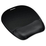 Fellowes® 9176501 Mouse Pad with Wrist Rest, Non-Skid Back, Black