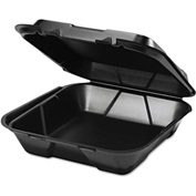 "Hinged Lid Foam Food Container 9-1/4"" x 9-1/4"" x 3"" 1 Compartment - 200 Pack"