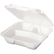 "Hinged Lid Foam Food Container 9-1/4"" x 9-1/4"" x 3"" 3 Compartment - 200 Pack"
