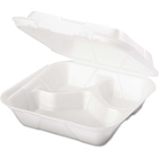 "Hinged Lid Foam Food Container 8-1/4"" x 8"" x 3"" 1 Compartment - 200 Pack"