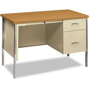 "HON® Steel Desk - Single Right Pedestal - 45-1/4""W x 24""D - Oak/Putty"