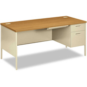 Modular Single Right Pedestal Desk With Oak Top - HON Steel Desks