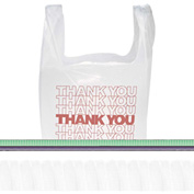 "T-Shirt Bag ""Thank You"" With Handles 11-1/2"" x 6-1/2"" x 21"" 12.5 Micron - 900 Pack"