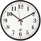 "Chicago Lighthouse Quartz Slimline Clock w/ Protective Cover, 12-3/4"", Black"
