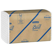 SCOTT C-Fold Paper Towels, 10-1/8 x 13-1/4, White, 200/Pack, 12/Carton - KIM01510
