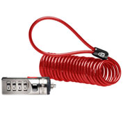 Kensington® Portable Combination Laptop Lock, 6ft Steel Cable, Red