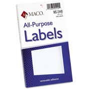 Maco® Multipurpose Self-Adhesive Removable Labels, 1 1/2 x 3, White, 160/Pack