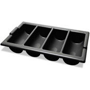 Miller's Creek Four-Compartment Cutlery Bin, 22 x 12 x 4, Black