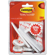3M Command™ General Purpose Hooks Value Pack, Large, 5lb Cap, White, 3 Hooks & 6 Strips/Pack