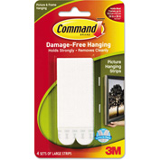 "3M Command™ Picture Hanging Strips, 1/2"" x 3 5/8"", White, 4/Pack"