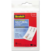 Scotch® Self-Sealing Laminating Pouches, 9 mil, 3 4/5 x 2 2/5, Business Card Size, 10/Pk