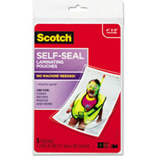 Scotch® Self-Sealing Laminating Pouches, 9.5 mil, 4 3/8 x 6 3/8, Photo Size, 5/Pack