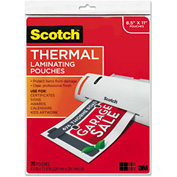 Scotch® Letter Size Thermal Laminating Pouches, 3 mil, 11 1/2 x 9, 20/Pack
