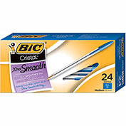 BIC® Cristal Xtra Smooth Ballpoint Pen, Blue Ink, 1mm, Medium, 24/Pack