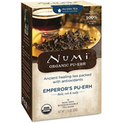 Numi Organic Tea Pu-Erh Tea, Emperor's Pu-Erh, Single Cup Bags, 0.125 Oz 16/Box