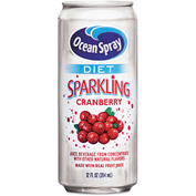 Ocean Spray Diet Sparkling Cranberry Juice, 12 Oz, From Concentrate, 10 Calories, 12/Carton
