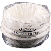 Coffee Pro Basket Filters for Drip Coffeemakers, 10 to 12 Cups, White, 200 Filters/Pack