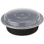 "Microwavable Container Combo Black/Clear 6"" Diameter 16 Oz - 150 Pack"