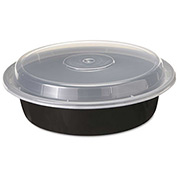 """Microwavable Container Combo Black/Clear 7"""" Diameter 24 Oz - 150 Pack"""