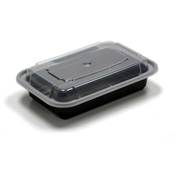 "Microwavable Container Combo Black/Clear 5"" x 7-1/4"" x 1-1/2"" 16oz - 150 Pack"