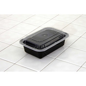"Microwavable Container Combo Black/Clear 5"" x 7-1/4"" x 2"" 24oz - 150 Pack"