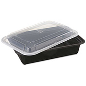 "Microwavable Container Combo Black/Clear 6"" x 8-1/2"" x 2"" 38oz - 150 Pack"