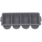 Rubbermaid® Commercial Cutlery Bin, Four Compartments, Gray