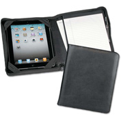 Samsill® Carrying Case, 70700, For iPad, W/Zipper Composition Pad Holder, Leather, Black