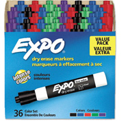 EXPO® Low Odor Dry Erase Marker, Chisel Tip, Assorted, 36/Box