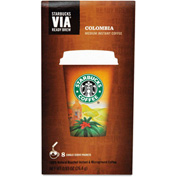 Starbucks® Colombia Via Ready Brew Coffee, Regular, Arabica Beans, 0.12 oz., 8/Box