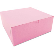 "Bakery Boxes 10"" x 10"" x 4"" Pink - 100 Pack"