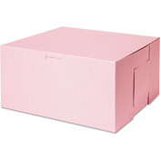 "Bakery Boxes 10"" x 10"" x 5"" Pink - 100 Pack"