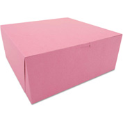 "Bakery Boxes 12"" x 12"" x 5"" Pink - 100 Pack"