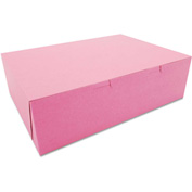 "Bakery Boxes 14"" x 10"" x 4"" Pink - 100 Pack"