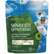 Seventh Generation® Natural Automatic Dishwasher Dtrgnt Unscented, 45 PktsBag 1/Case - SEV22897