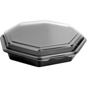 SOLO OctaView Hinged Lid Plastic Containers Black/Clear Containers 31 Oz 1 Compartment - 100 Pack