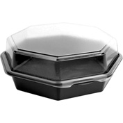 SOLO OctaView Hinged Lid Plastic Containers Black/Clear Containers 42 Oz 1 Compartment - 100 Pack