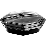 SOLO OctaView Hinged Lid Plastic Containers Black/Clear Containers 36 Oz 3 Compartment - 100 Pack