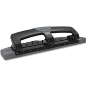 "Swingline® 12-Sheet SmartTouch Three-Hole Punch, 9/32"" Holes, Black/Gray"