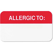 Tabbies® Medical Labels for Allergies, 7/8 x 1-1/2, White, 250/Roll