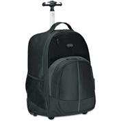 Targus® Compact Rolling Backpack, 19 1/3 x 7 1/2 x 13 4/10, Polyester, Black