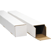 "General Supply Square Mailing Tubes, 18""L x 3""W x 5""H, White, 25/PACK"