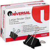 "Universal® Large Binder Clips, Steel Wire, 1"" Capacity, 2"" Wide, Black/Silver, Dozen"