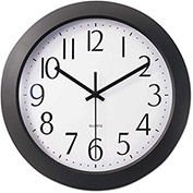 "Universal One™ Whisper Quiet Clock, 12"", Black"